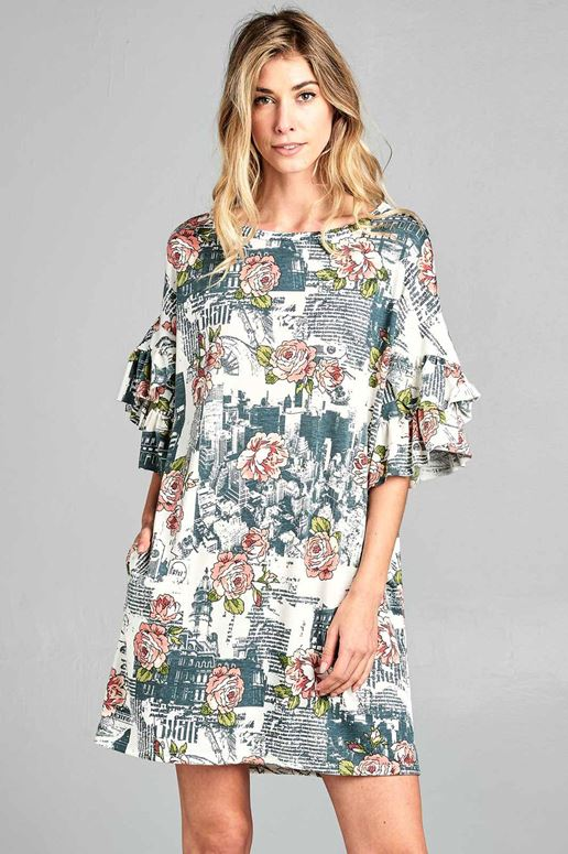 Floral Newspaper Print Ruffle Sleeve Dress - Ivory