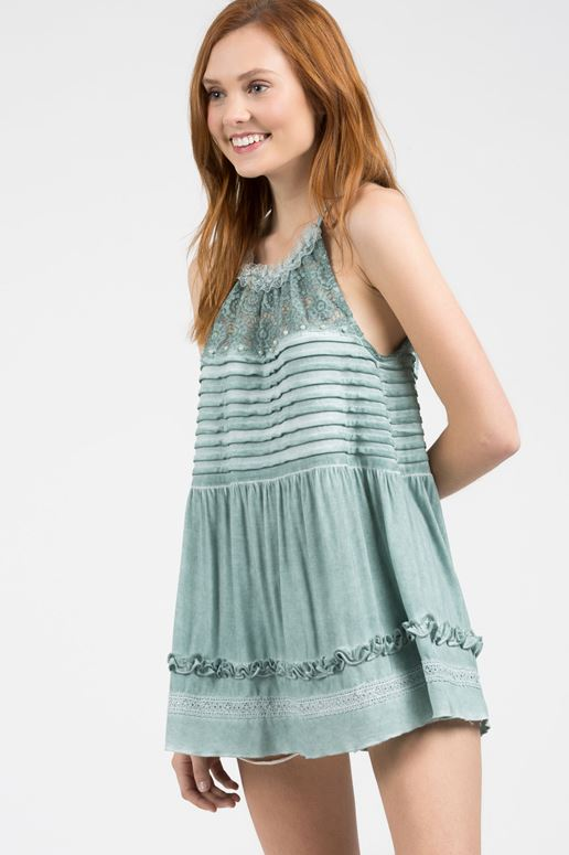 POL Jersey Pintuck Cami Top - Emerald