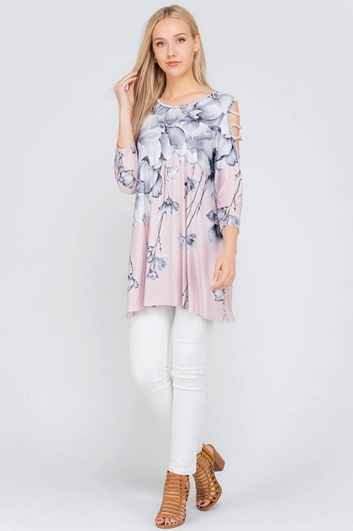 Flirty Girl Watercolor Floral Tunic - Blush
