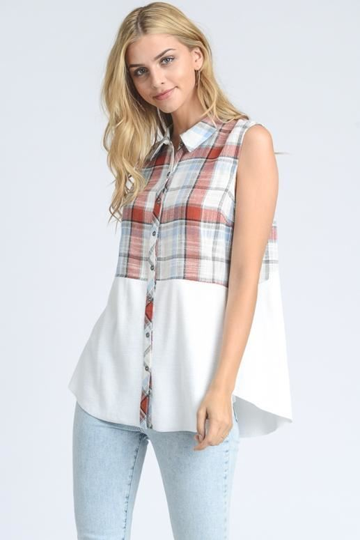 Sleeveless Plaid Top Contrast Hem - Cream