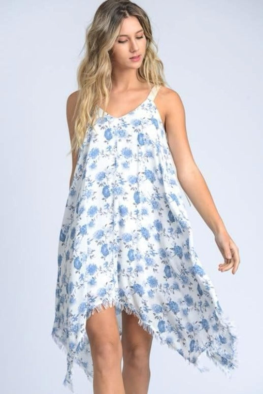 Hanki Frayed Hem Dress- White Blue Floral-Final Sale