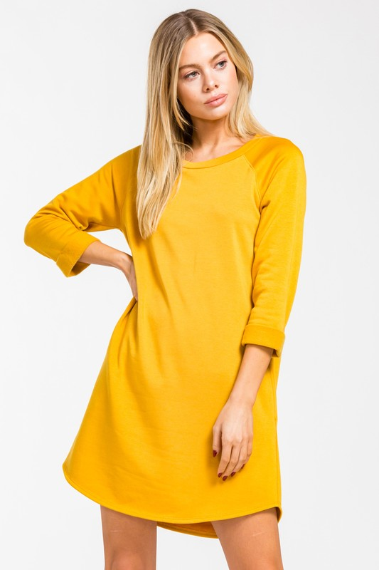Cherish  3/4 Sleeve Dress - Mustard