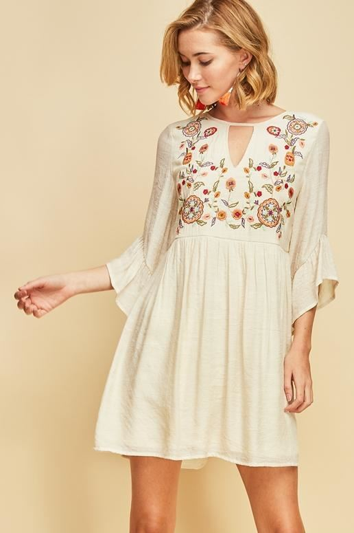 Entro Enjoy Today Embroidered Dress- Natural