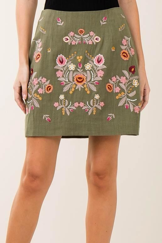 Entro Linen Embroidered Skirt - Olive