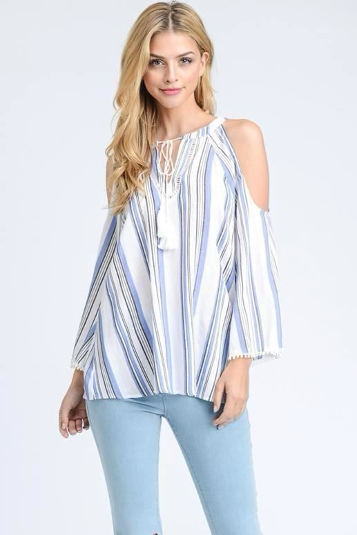 Doe & Rae Cold Shoulder Striped Top - Denim
