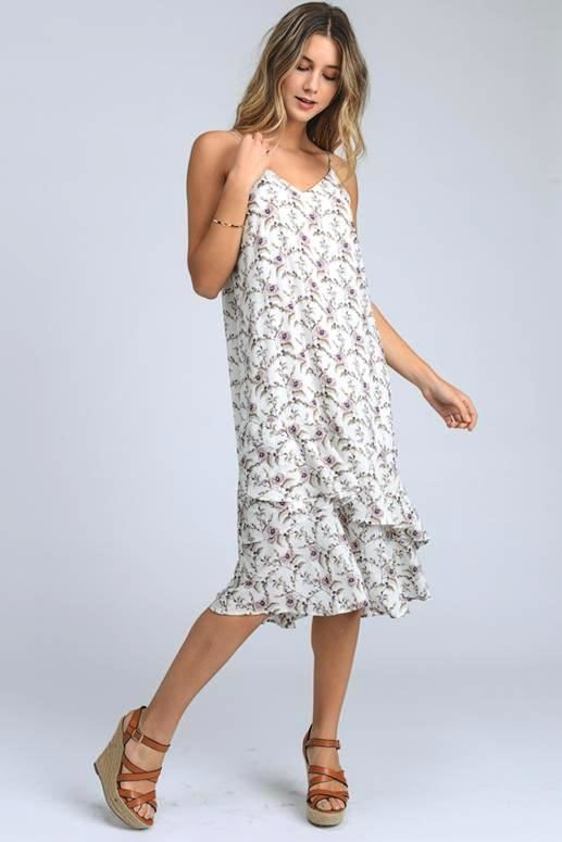 Small Flowers Ruffle Midi Dress - Ivory