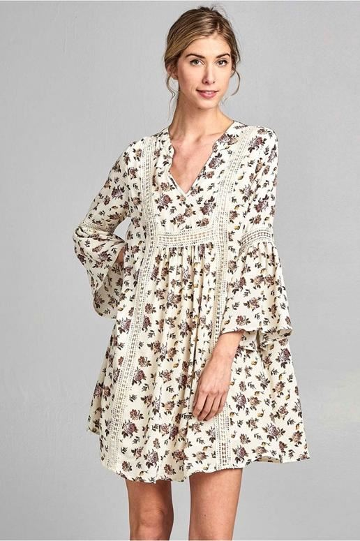 Boho Babe Crochet Floral Print Dress - Ivory