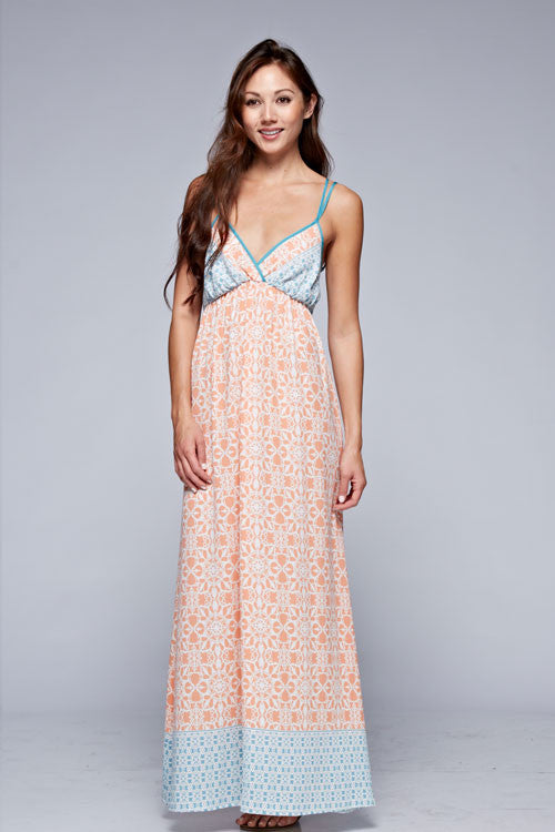 Love Stitch Life's a Peach Maxi Dress - Sky Blue/Peach