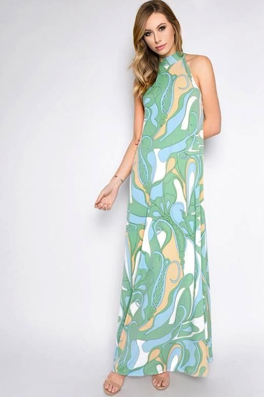 Marvelous Mint Hi Neck Maxi Dress
