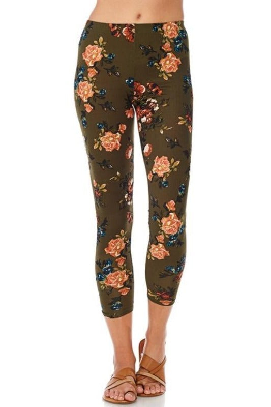 Reborn J Floral Above Ankle Brushed Leggings - Olive