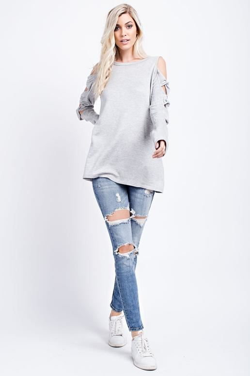 143 Twisted Knot Sleeve Top - Heather Gray