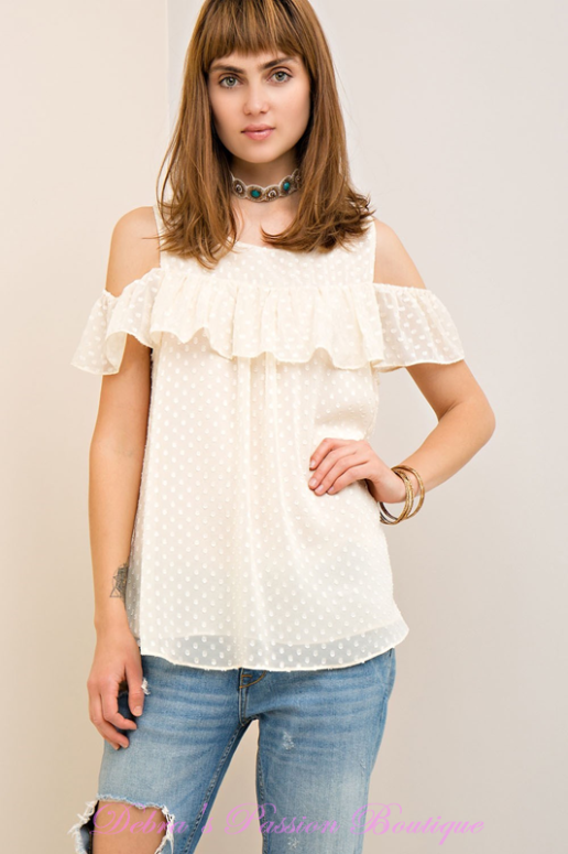 Swiss Dot Ruffle Blouse - Natural
