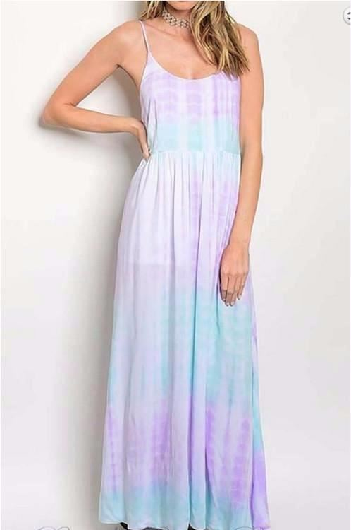 Stay with Me Soft Tie Dye Maxi Dress - Mint Lilac