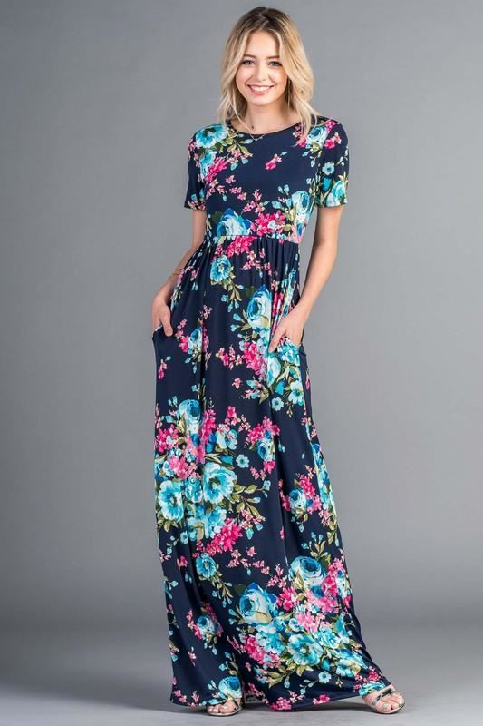 Bellamie Floral Maxi Short Sleeve Dress - Navy