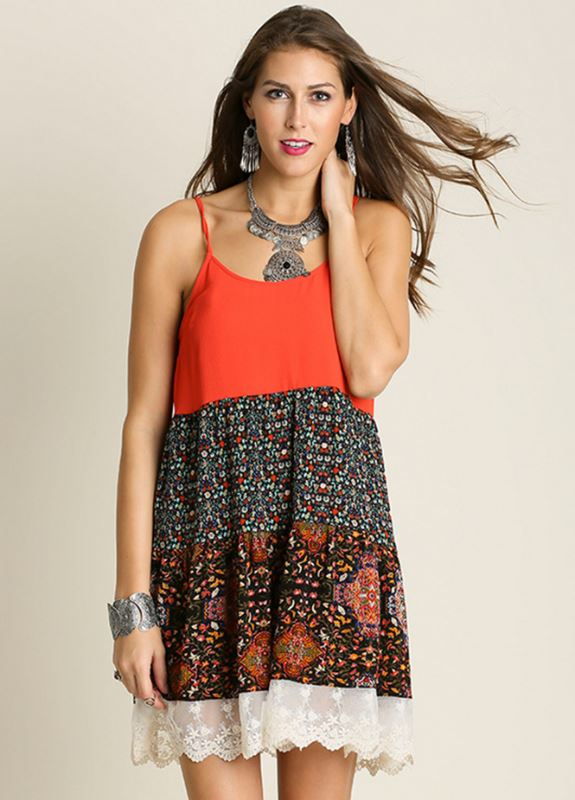 Silly to the Max Boho Sun Umgee Dress- Tomato Mix