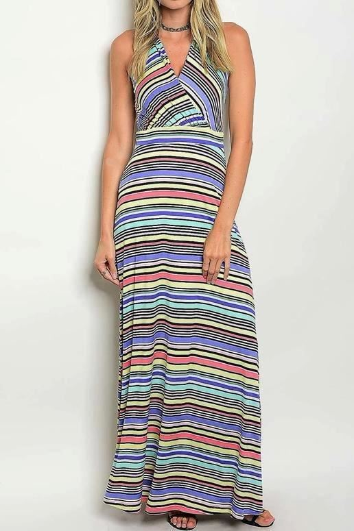 Gina Multi Stripes Maxi Dress
