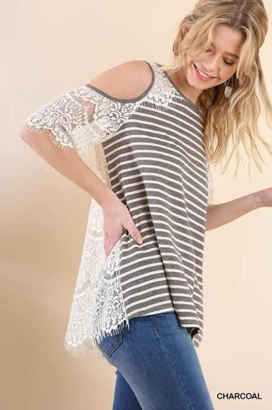 Umgee Open Shoulder Lace Back Striped Top - Charcoal