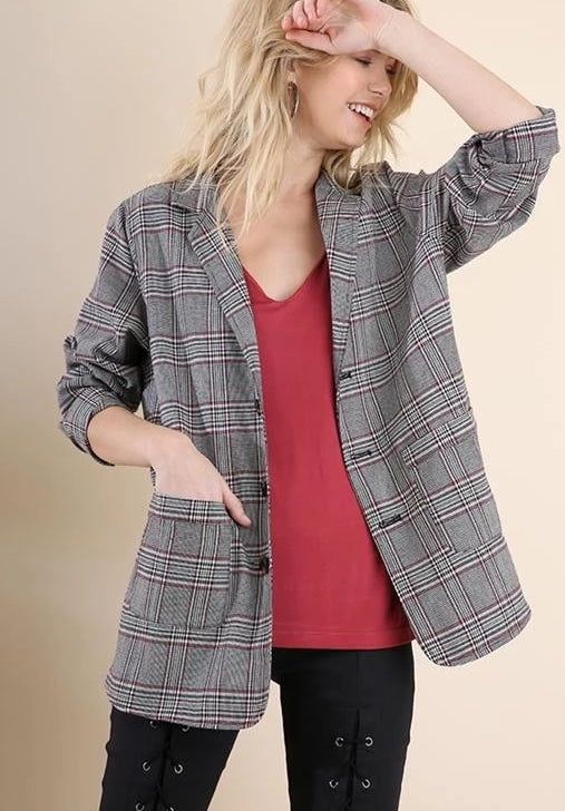 Umgee Ultra Cute Plaid Blazer Jacket - Black/Red