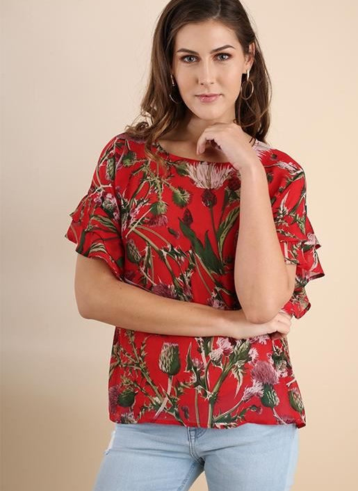 Umgee Floral Print Blouse - Chili Powder