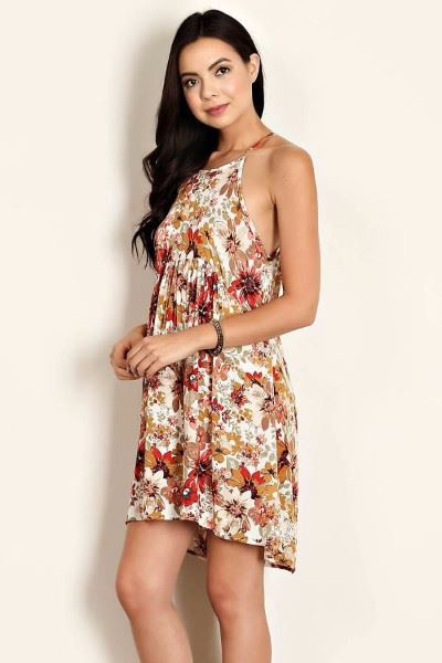 Delicate Daisy Floral Peasant Summer Dress - Ivory
