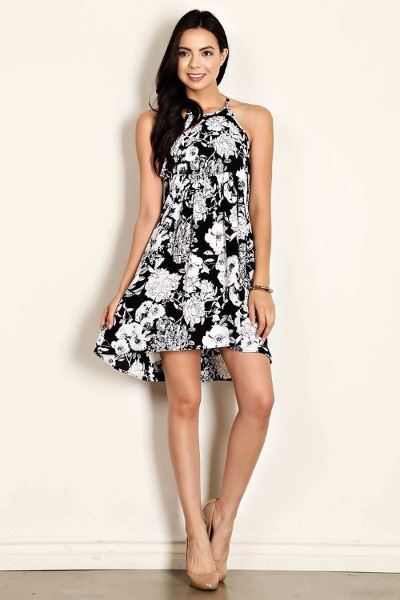 Poppy Floral Summer Dress - Black White