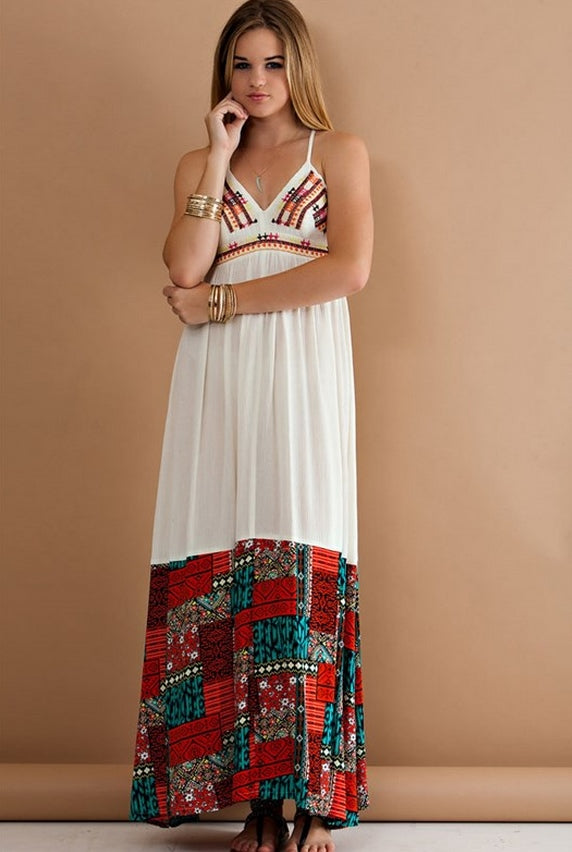 Lazy Days Patchwork Embroidered Maxi Dress - Ivory