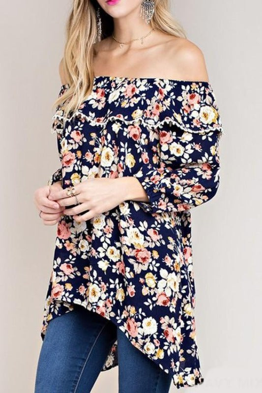 Kori Off Shoulder Roses Blouse - Navy