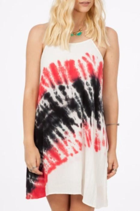 Peach Love Tie Dye Shift Dress - Red/Black