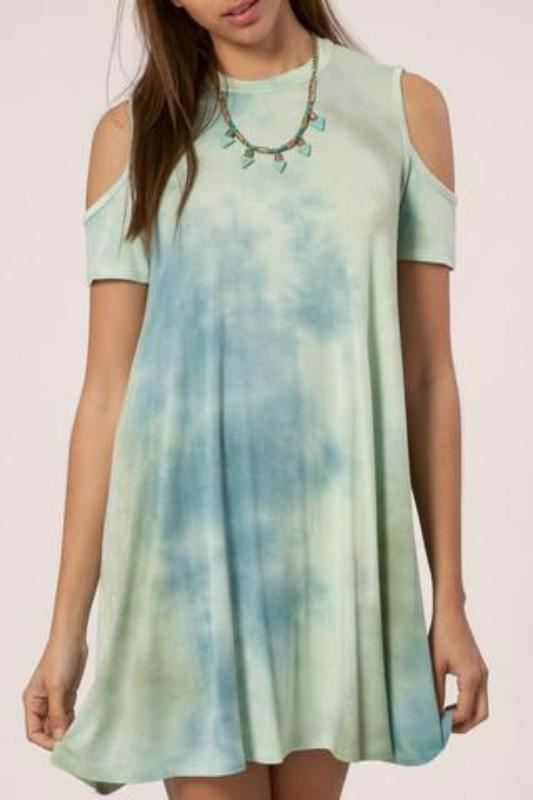 Deep Sea Tie Dye Mini Dress -Sage