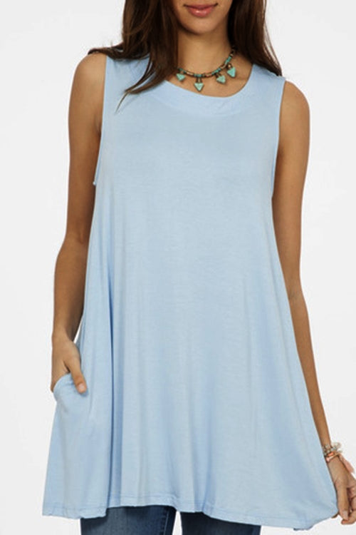 Solid Swing Tunic Mini Dress - Aqua