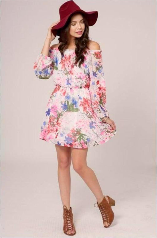 Peach Love Spring Blossoms Off Shoulder Dress - White Pink
