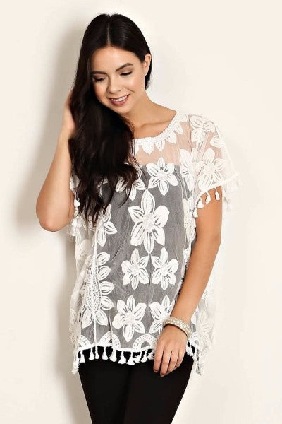 Dazzle Me Mesh Flower Crochet Top- White