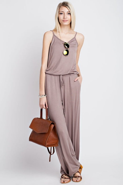 12PM by Mon Ami Soft Solid Jumpsuit - Mocha