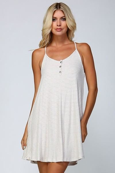 Surfs Up Stripes Racer Back USA Dress - Oatmeal