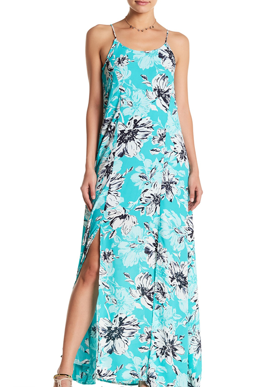 Peach Love Mint Floral Maxi Dress