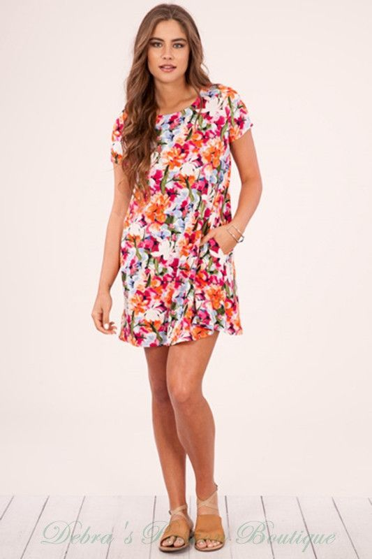 Peach Love Floral Dress - Orange Magenta Olive