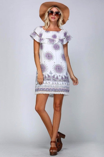 Mandala Medallion Sun Dress - Ivory