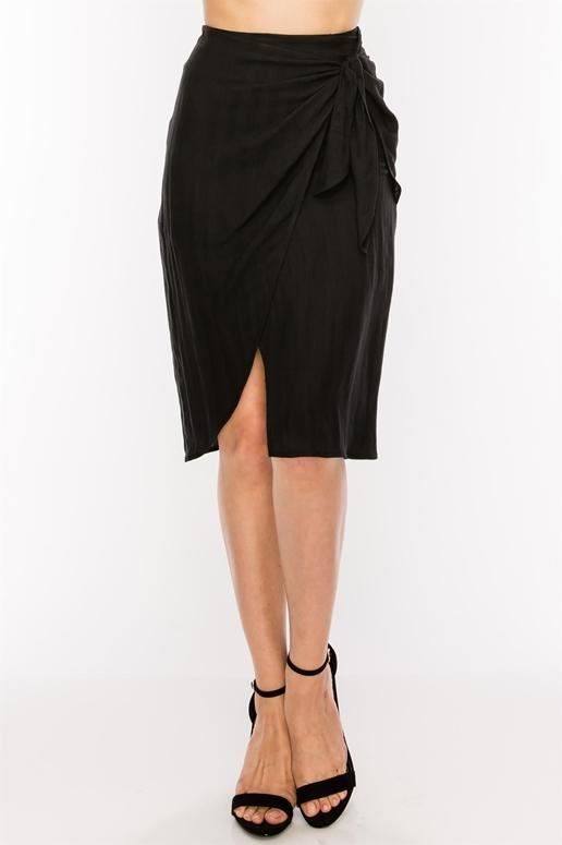 Soft Chic Wrap Tie Skirt - Black