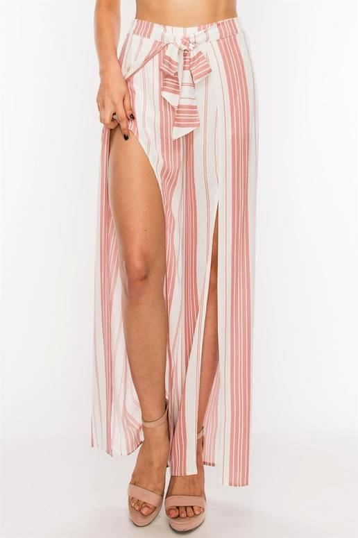 Split Front Chic Striped Pants - Blush