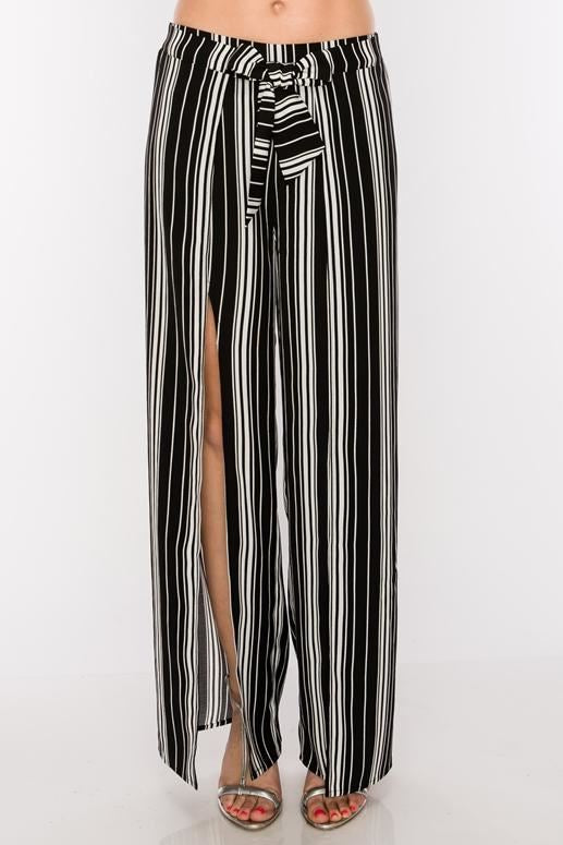 Split Front Chic Striped Pants - Black