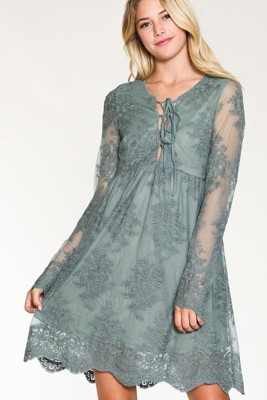 Embroidered Lace Up Dress - Sage