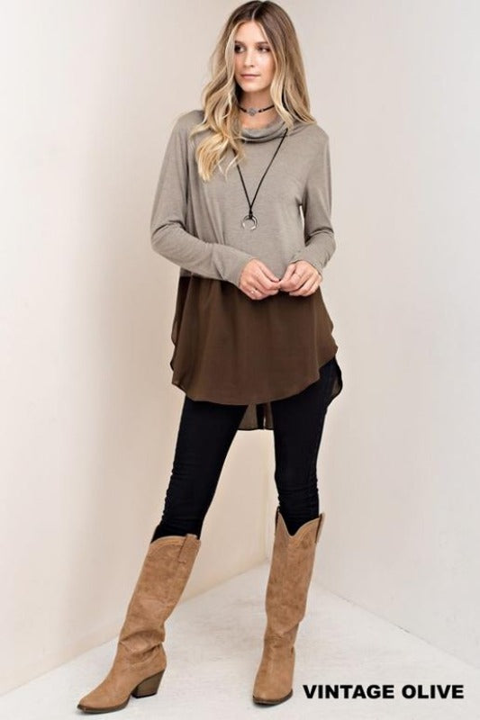 Kori Cowl Button Back Color Block Top - Vintage Olive