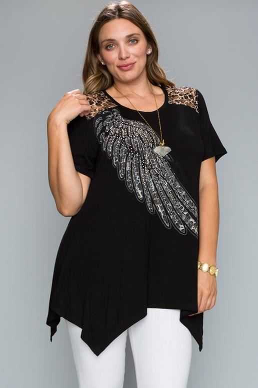 Vocal Wing Lace Animal Print Plus Tunic - Black