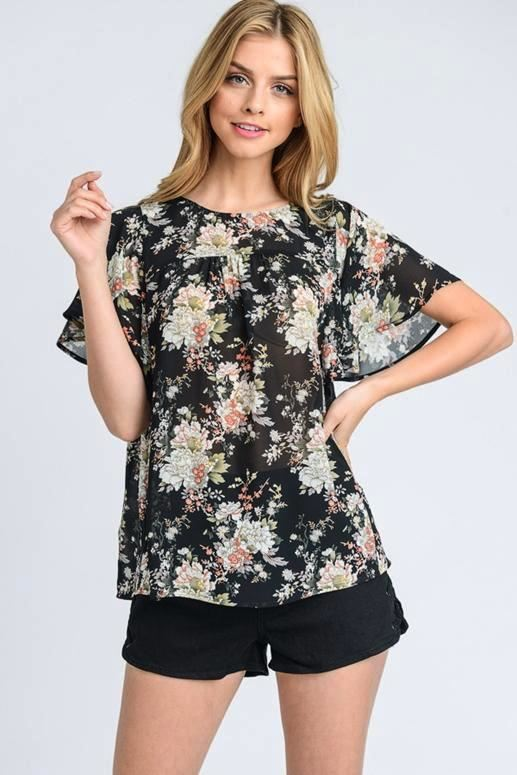 Doe & Rae Floral Flutter Sleeve Sheer Blouse - Black