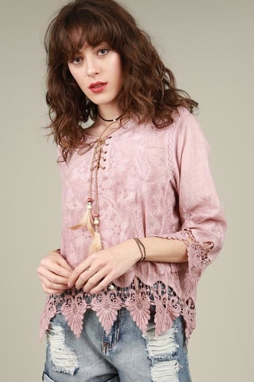 POL Suede Lace Up Top - Dusty Mauve Pink