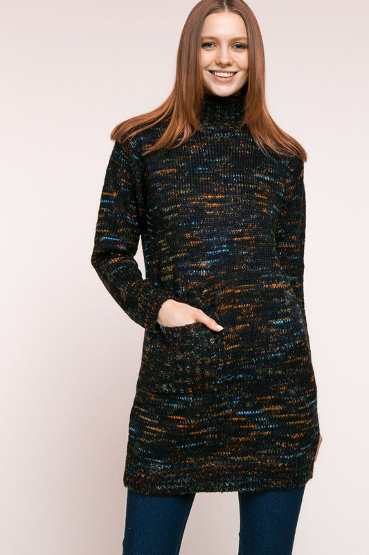 Multicolor Mock Turtle Sweater Tunic Dress - Black
