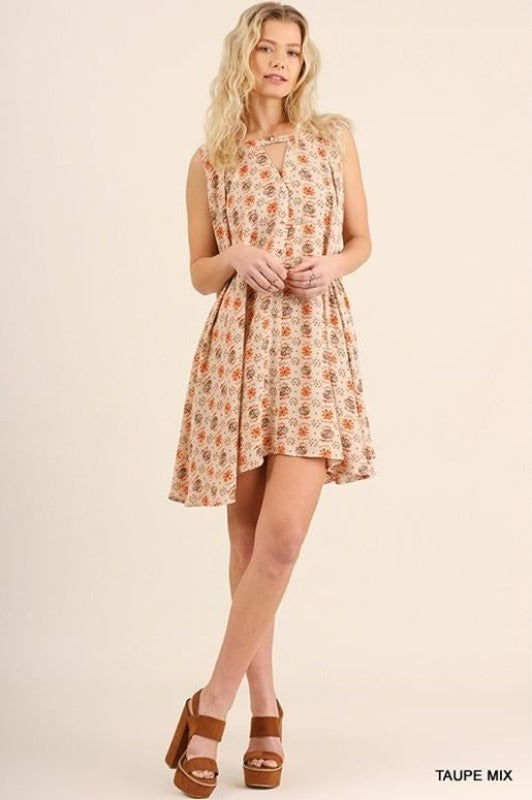 Umgee Keyhole Swing Dress - Taupe Mix