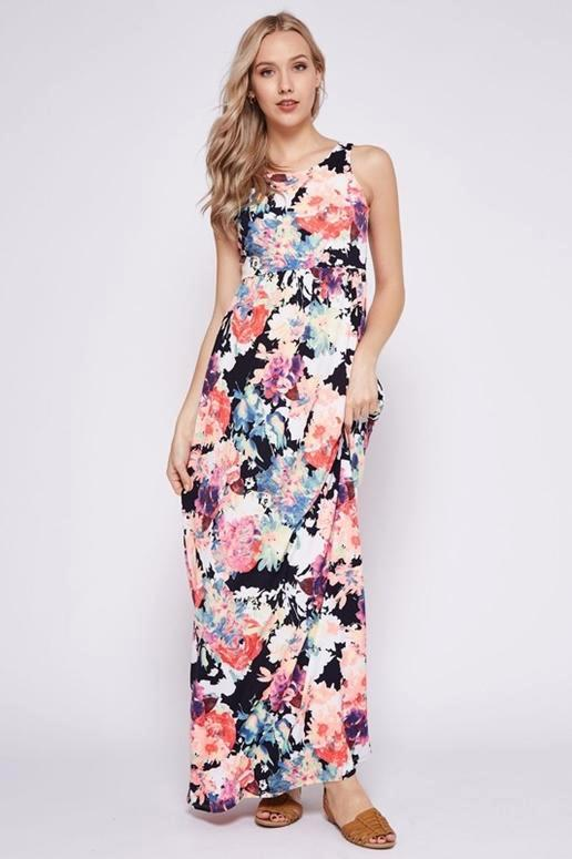 Floral Racer Back Maxi Dress - Multicolor