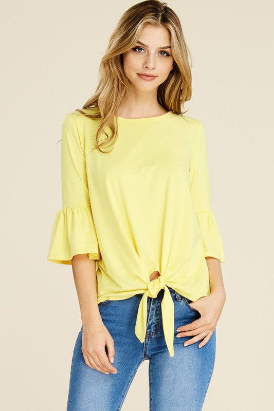 Reborn J Signature Soft Front Knot Top - Banana
