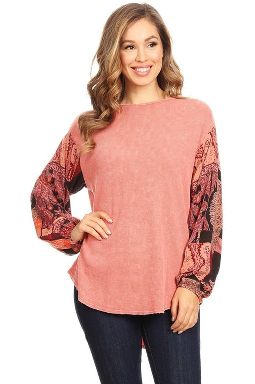 T Party Thermal Contrast Print Top - Coral